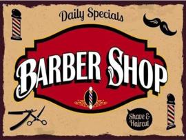Barber Shop Metalen wandplaat 30 x 40 cm