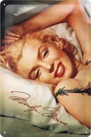 Marilyn Monroe Metalen wandbord in reliëf 20 x 30 cm.