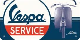 Vespa Service.  Metalen wandbord 10 x 20 cm.