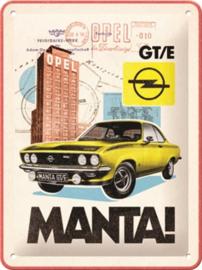 Opel Manta GT/E.  Metalen wandbord in reliëf 15 x 20 cm.