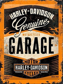Harley Davidson Garage Metalen wandplaat in relief 40 x 30 cm
