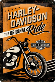 Harley-Davidson - The Original Ride Metalen wandbord in reliëf 20 x 30 cm
