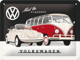 VW - Meet The Classics . Metalen wandbord in reliëf 15 x 20 cm.