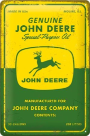 John Deere - Special Purpose Oil. Metalen wandbord in reliëf 20 x 30 cm