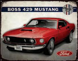 Boss 429 Ford Mustang Metalen wandbord 38 x 30,5 cm.