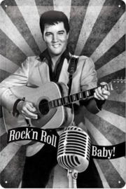 Elvis Presley  Rock'n Roll Baby Metalen wandbord in reliëf 20 x 30 cm