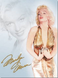 Marilyn Monroe - Gold Dress. Metalen wandbord 40,5 x 31,5 cm.