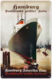 Hamburg-Amerika Line.  Metalen wandbord in reliëf 20 x 30 cm.