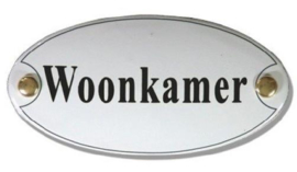 Woonkamer Emaille Naambordje 10 x 5 cm Ovaal