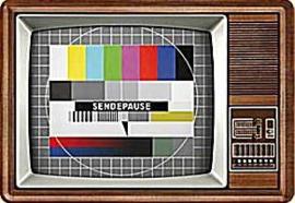 Retro TV Sendepause  Metalen Postcard 10 x 14 cm.