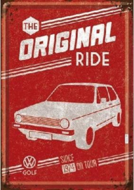 VW Golf The Original Ride Metalen Postcard 10 x 14 cm.