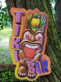 Tiki Bar Metalen wandbord in reliëf  50 x 29 cm.