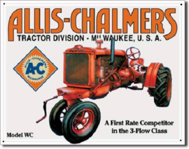 Allis- Chalmers Model WC  Metalen wandbord 31,5 x 40,5 cm.