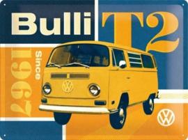 VW T2 Bulli Since 1967 Metalen wandbord in reliëf 30x40 cm