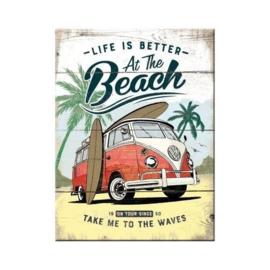 VW At The Beach. Koelkastmagneet 8 cm x 6 cm.