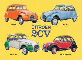 Citroen 2CV Collage Metalen wandbord  41 x 30 cm