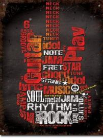 Guitar Inspiration Metalen wandbord 31,5 x 40,5 cm.
