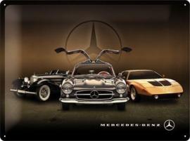 Mercedes-Benz 3 Cars Metalen wandbord in reliëf 30 x 40 cm .