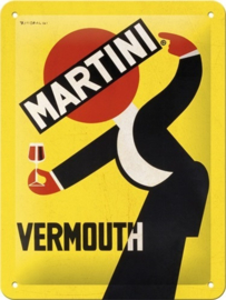 Martini - Vermouth Waiter Yellow. Metalen wandbord in reliëf 15 x 20 cm