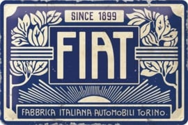 Fiat - Since 1899 Logo Blue.Metalen wandbord in reliëf 20 x 30 cm.