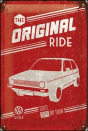 VW Golf - The Original Ride Metalen wandbord in reliëf 20 x 30 cm