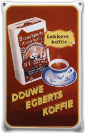 Douwe Egberts Emaille Reclamebord 20 x 33 cm.