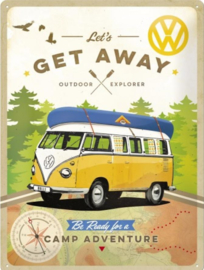 VW Lets Get Away  Metalen wandbord in reliëf 30 x 40 cm