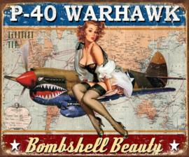P-40 Warhawk Bombshell Beauty.   Metalen wandbord 31,5 x 40,5 cm.