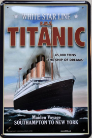 Titanic White Star Line Metalen wandbord 20 x 30 cm