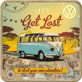 VW Let's Get Lost Onderzetters 9 x 9 cm.  5 stuks.