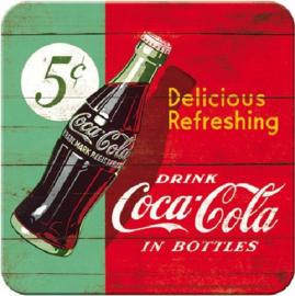 Drink Coca Cola in Bottles Onderzetters 9 x 9 cm.  5 stuks.
