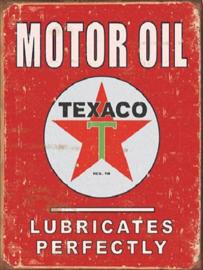 Texaco Lubricates Perfectly Metalen wandbord 31,5 x 40,5 cm.