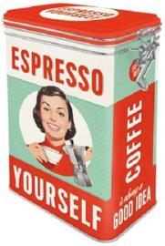 Espresso Yourself Bewaarblik met beugelsluiting.