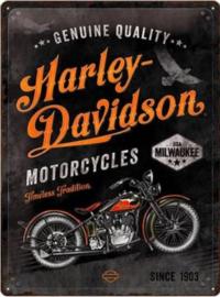 Harley Davidson Timeless.  Metalen wandbord in reliëf 30 x 40 cm.