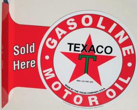 Texaco Sold Here.  Aluminium uithangbord 34 x 45 cm.