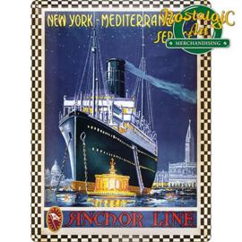 Anchor Line.    Metalen Postcard 10  x 14 cm.
