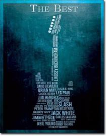 The Best Guitarists.   Metalen wandbord 31,5 x 40,5 cm