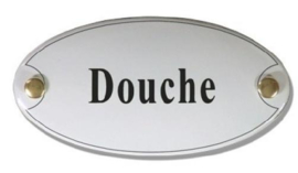 Douche Emaille Naambordje 10 x 5 cm Ovaal