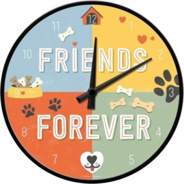 Friends Forever. Wandklok Ø 31 cm.