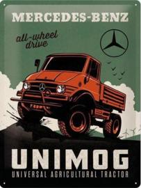 Mercedes-Benz Unimog Metalen wandbord in reliëf 30 x 40 cm .