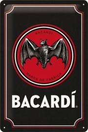 Bacardi - Logo Black. Metalen wandbord in reliëf 20 x 30 cm.
