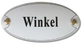 Winkel Emaille Naambordje 10 x 5 cm Ovaal