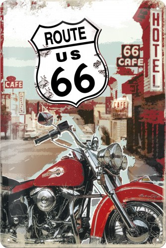 Route 66 Lone Rider Metalen wandbord in reliëf 20 x 30 cm