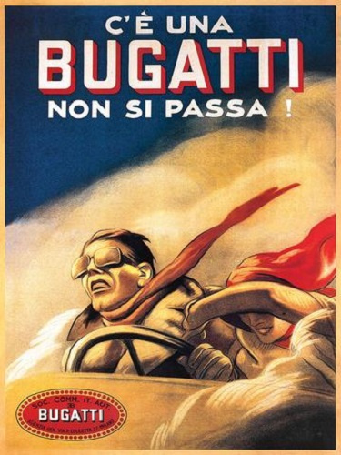 Bugatti Metalen wandbord 40 x 30 cm.