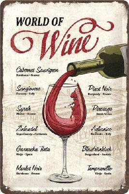 World of WineMetalen wandbord in reliëf 20 x 30 cm.
