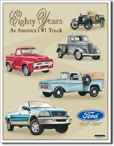 Ford Trucks 80 Yr Tribute   Metalen wandbord 31,5 x 40,5 cm.
