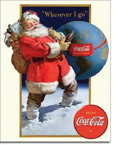 Coca Cola Santa Globe.   Metalen wandbord 31,5 x 40,5 cm.