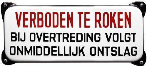 Verboden te roken   Emaille bordje 30 x 12 cm.