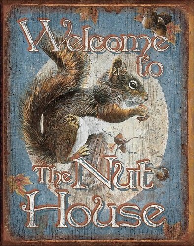 Welcome to The Nut House.  Metalen wandbord 31,5 x 40,5 cm.