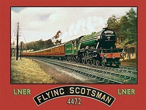 Flying Scotsman. Metalen wandbord 30 x 40 cm.